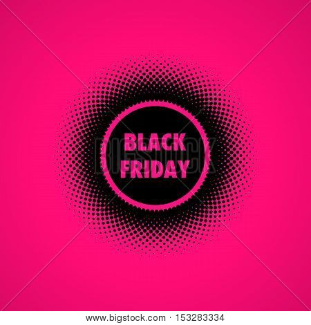 Black Friday Sales banner. Halftone effect vector illustration. Black dots on pink background. Design template with text Black Friday.