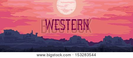 The banner with landscape in the style of vintage Western movie. Vector illustration