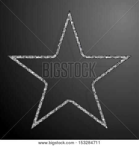 Frame made of Silver sequins in the form star. Mosaic sequins glitter sparkle stars.