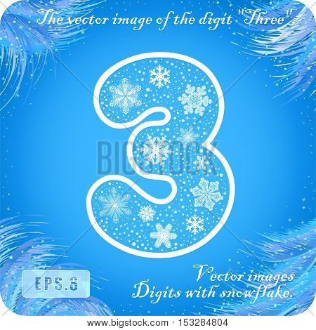 Snowflakes number. The vector image of the digit