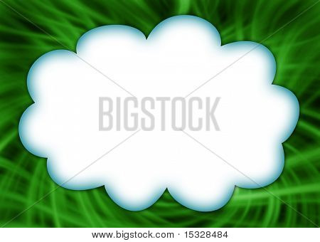 Cloud on a green grass illustration border - ready for your message