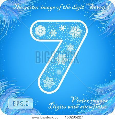 Snowflakes figures. The vector image of the digit