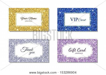 Card template with shiny glowing glitter texture. Calling card, gift card, VIP card. Vector illustration