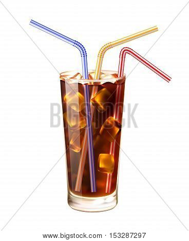 Glass And Colored Straws Realistic Vector Illustration