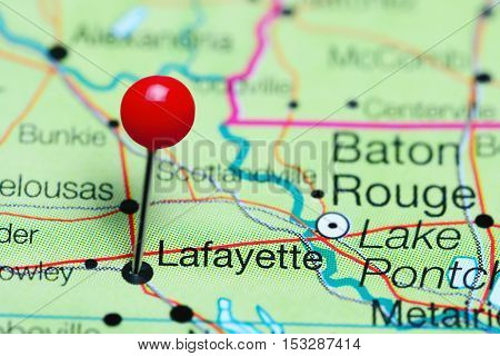 Lafayette pinned on a map of Louisiana, USA