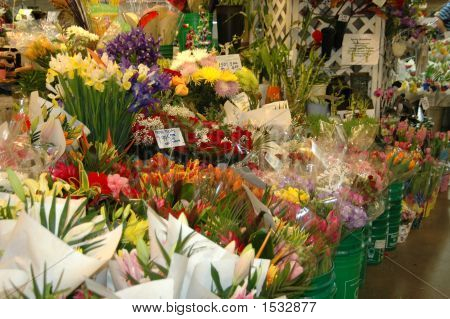 Flower Stand At Farmers Market