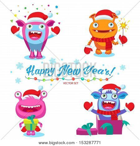 Funny Christmas Monsters Set. Cute Christmas Theme For Card Design Vector Illustration. Colorful Cartoon New Year Monsters Characters.