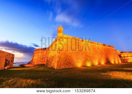 San Juan, Puerto Rico. Fort San Felipe del Morro or Morro Castle at twilight.
