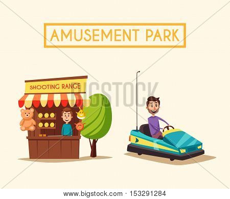 Amusement park theme. Cartoon vector illustration. Vintage style. Set of attractions. Icon collection. Dodgem car Good emotions. Shooting range