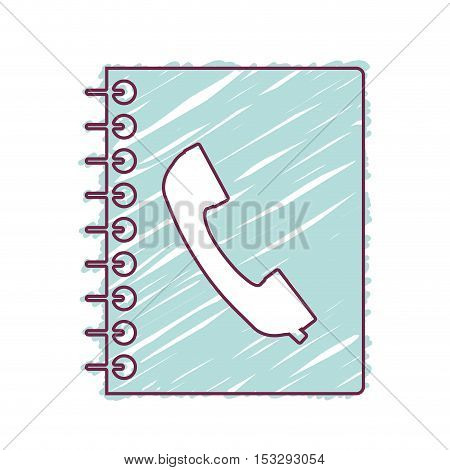 directory notebook with telephone icon on cover. draw design. vector illustration