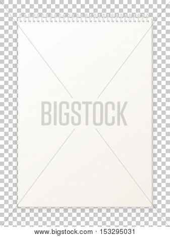 Vector illustration blank empty album format A4 for drawing. Clean notepad for sketches. Isolated scrapbook. Book sheet paper with spiral.