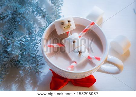 Closeup of funny marshmallows snowman for Christmas