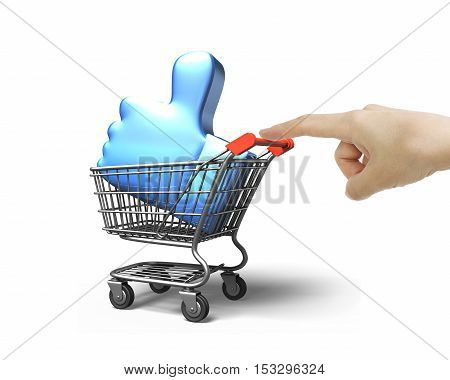 Woman Forefinger Pushing Shopping Cart With Thumb Up Inside