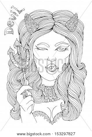 Vector hand drawn sexy girl devil with horns, holding a trident. Halloween costume party for coloring book. Coloring page A4 size. Zentangle drawing. poster