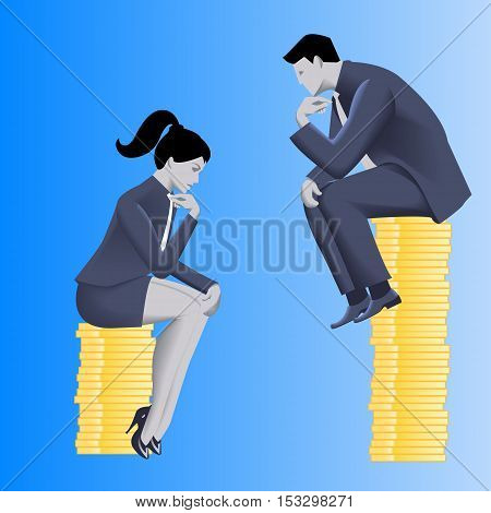 Gender inequality on payment business concept. Businessman looks from top of coins pile on business lady sitting on lesser pile.Concept of career inequality disparity gender differences foul play