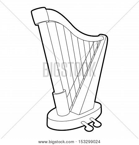 Harp icon. Outline isometric illustration of harp vector icon for web