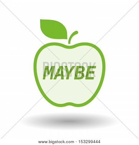 Isolated Line Art Fresh Apple Fruit Icon With    The Text Maybe