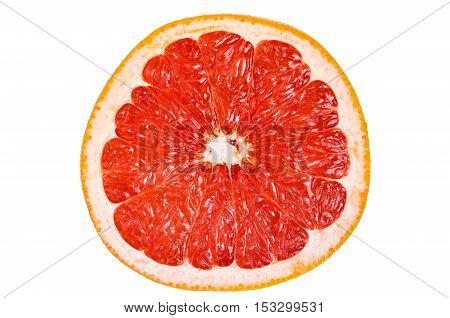 Cut, red inside, grapefruit isolated on white background