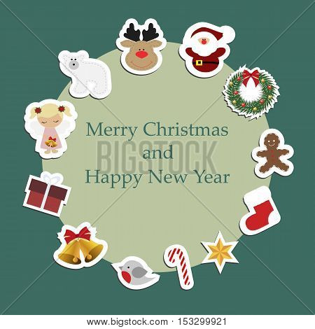 Christmas round frame with Christmas stickers around. Pattern to decorate greetings cards or decorative album or scrapbook. Baby vector illustration
