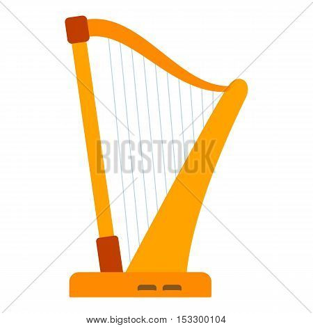 Harp icon. Flat illustration of harp vector icon for web