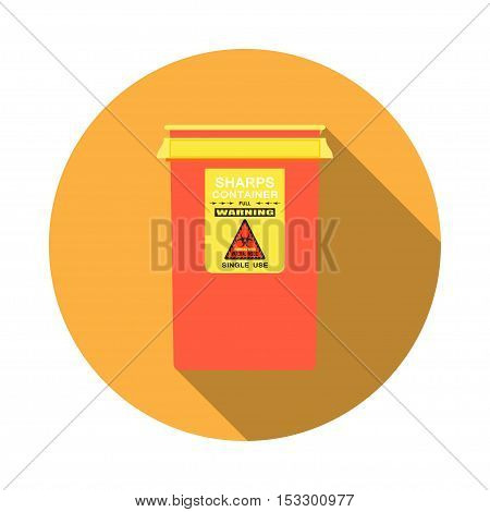 Biohazard - vector isolated icon of red sharps container with shadow on the yellow background.