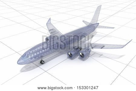 Airplane wire model isolated on white. 3D illustration