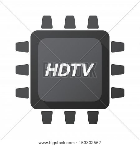 Isolated Central Processing Unit Icon With    The Text Hdtv