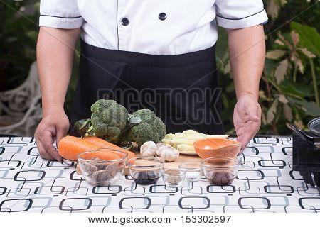 Chef presented ingredient stir fry Broccoli with shrimp / Stir fry broccoli concept