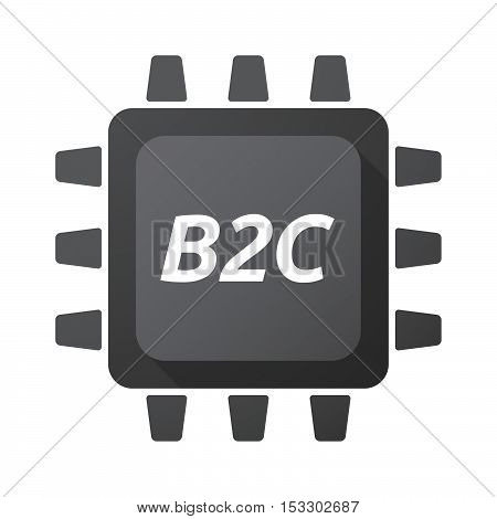 Isolated Central Processing Unit Icon With    The Text B2C