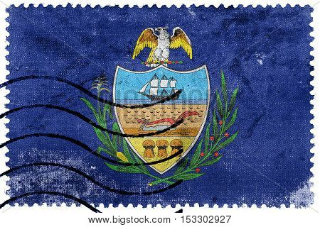 Flag Of Allegheny County, Pennsylvania, Usa, Old Postage Stamp