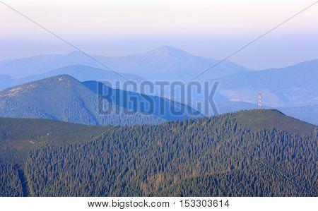 Summer Morning Mountain View (carpathian, Ukraine).