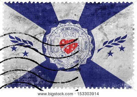 Flag Of Belford Roxo, Brazil, Old Postage Stamp
