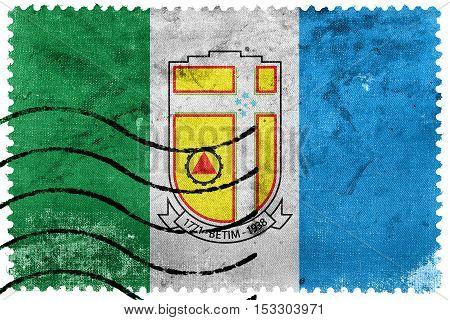 Flag Of Betim, Minas Gerais State, Brazil, Old Postage Stamp