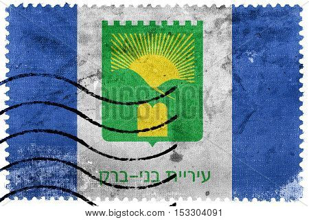 Flag Of Bnei Brak, Israel, Old Postage Stamp