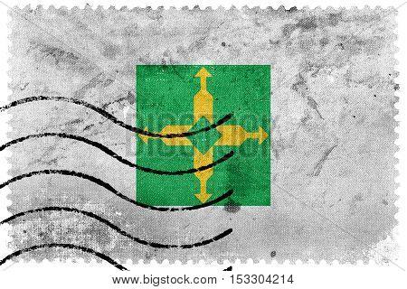Flag Of Brasilia, Distrito Federal, Brazil, Old Postage Stamp