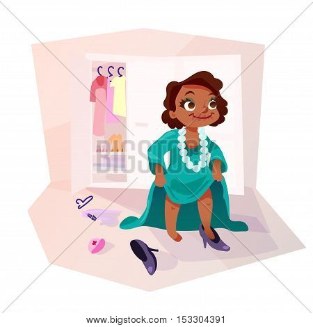 Little african american kid girl trying on mothers dress and shoes applying make up. Isolated female child in funny cartoon style.