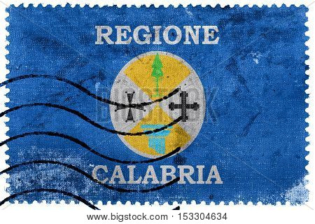 Flag Of Calabria, Italy, Old Postage Stamp