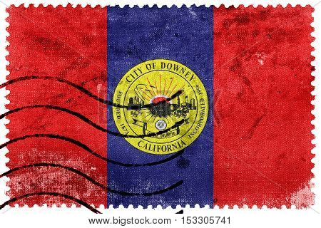 Flag Of Downey, California, Usa, Old Postage Stamp