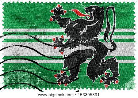 Flag Of East Flanders Province, Belgium, Old Postage Stamp