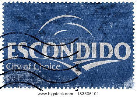 Flag Of Escondido, California, Usa, Old Postage Stamp