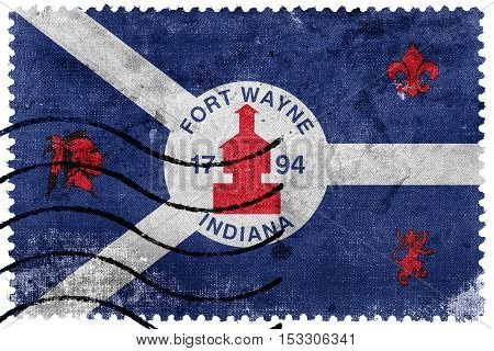 Flag Of Fort Wayne, Indiana, Usa, Old Postage Stamp