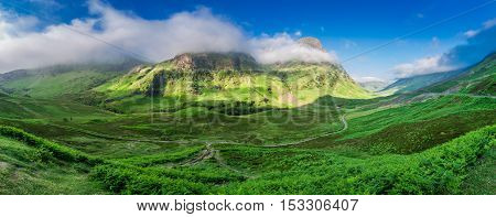 Stunning Panorama In The Mountains Of Glencoe At Dawn, Scotland