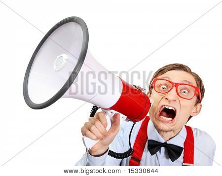 Funny guy with bullhorn