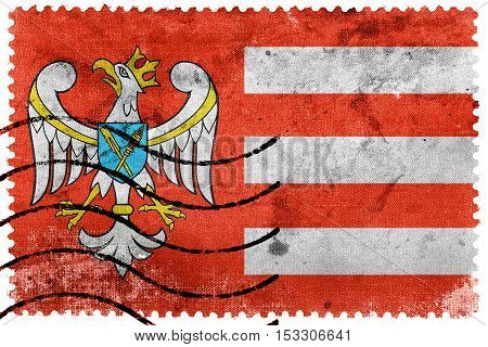 Flag Of Gniezno County, Poland, Old Postage Stamp