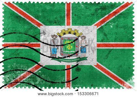 Flag Of Goiania, Goias State, Brazil, Old Postage Stamp
