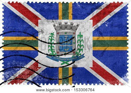 Flag Of Governador Valadares, Minas Gerais State, Brazil, Old Postage Stamp
