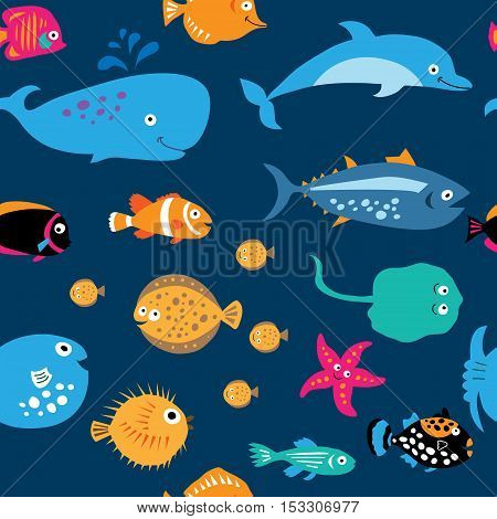 Seamless Pattern With Cute Sea Exotic Fish