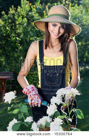 Cheerful girl in the garden
