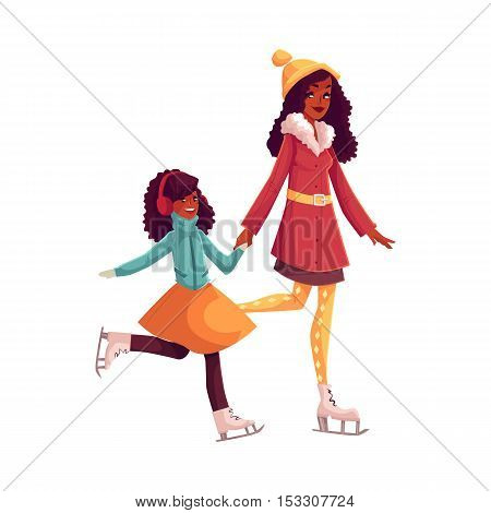Happy black mother and daughter ice skating together, cartoon vector illustrations isolated on white background. African American mother and daughter ice skating, talking, having fun, winter activity
