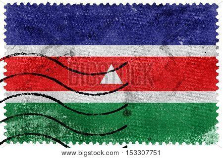 Flag Of Juiz De Fora, Brazil, Old Postage Stamp